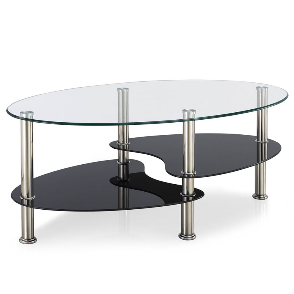 Coffee Table Black Glass Top Part - 50: Cara-Furniture-Range-Coffee-Table-Nest-of-3-