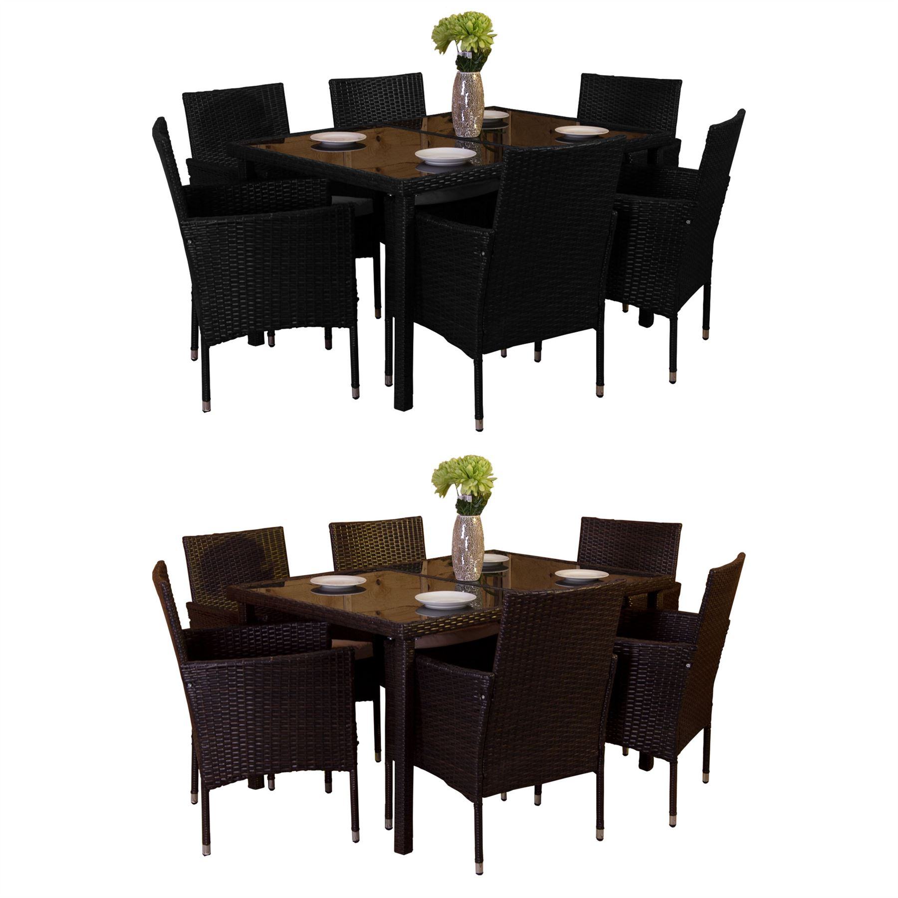 Details about malpas garden rattan furniture 6 seater dining set outdoor table patio ukfr