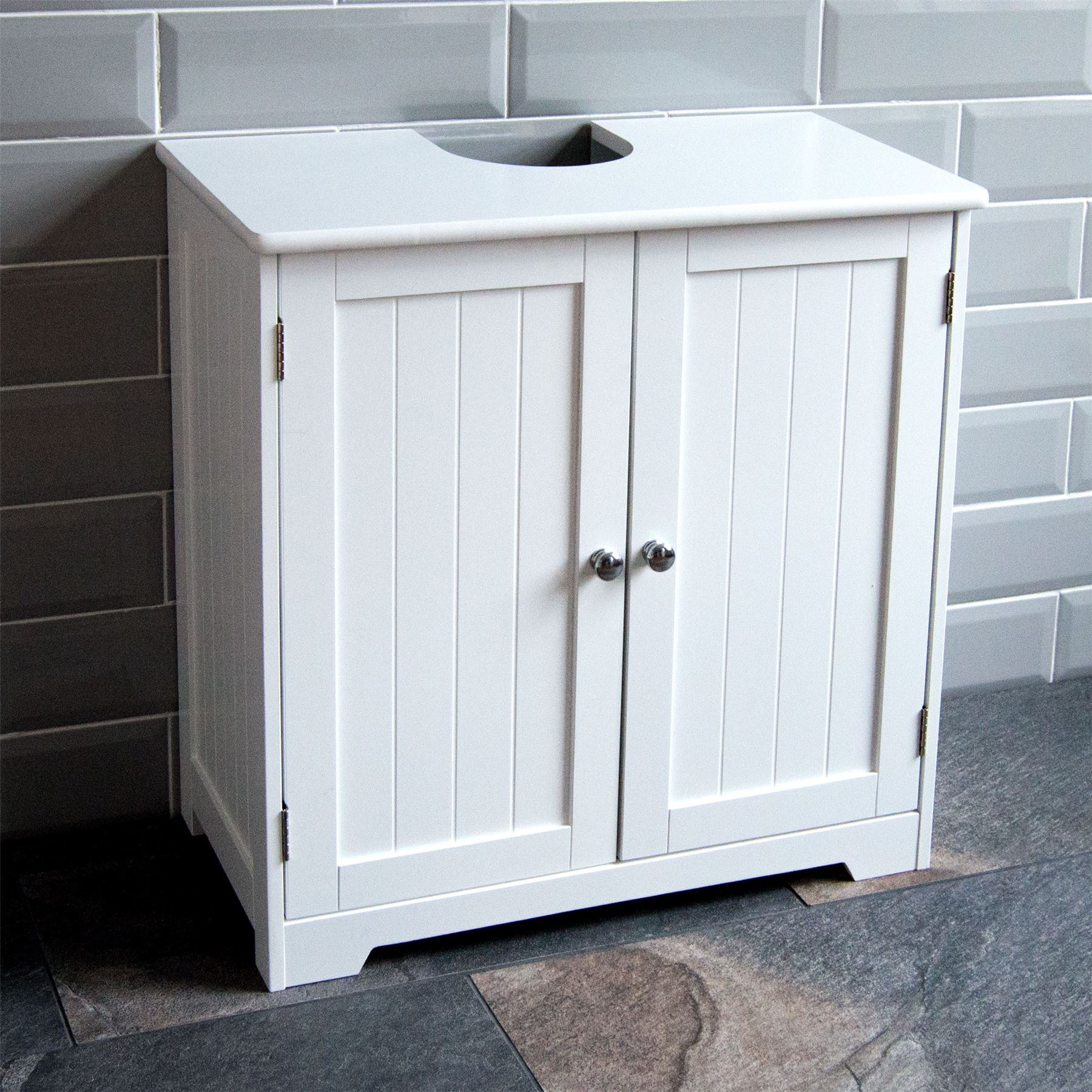 ... Picture 2 of 8 ... & Under Sink Basin Washbasin Cabinet Cupboard Unit Storage White ...