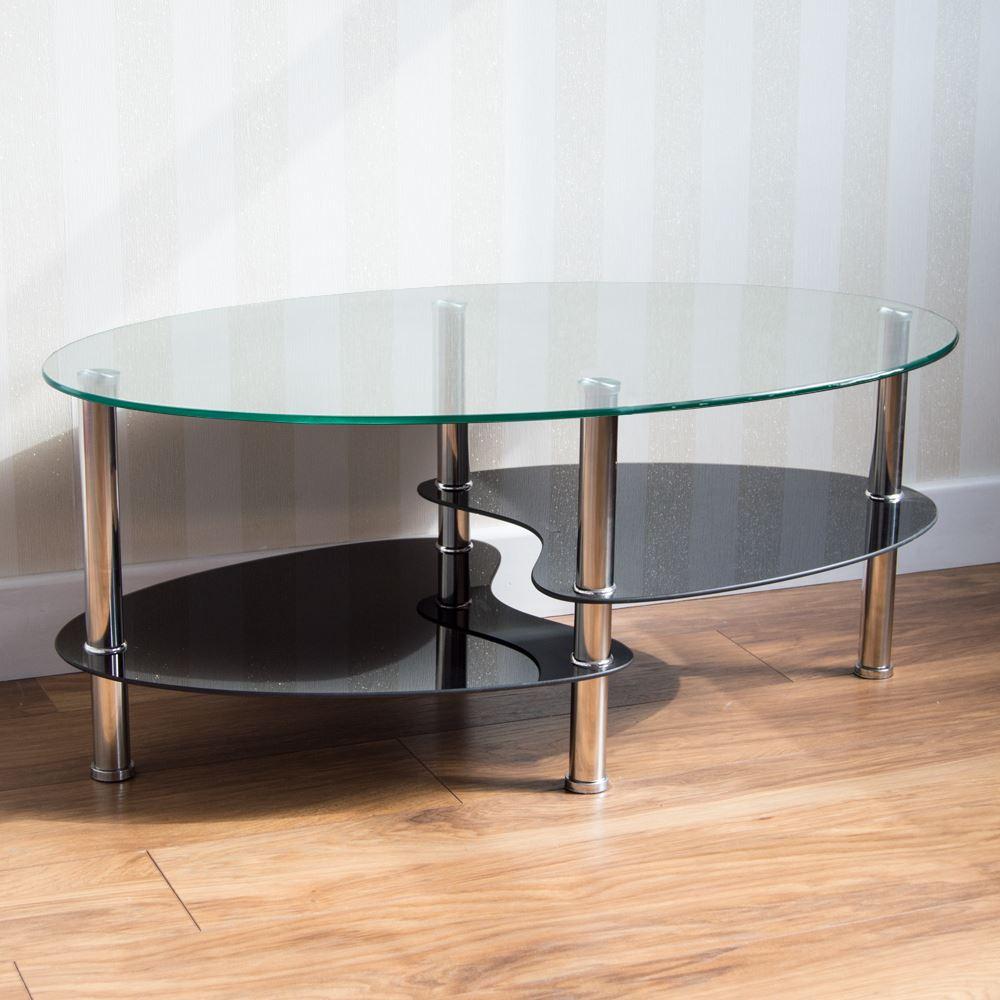 Cara Coffee Table Clear Black Oval Shelves Glass Modern