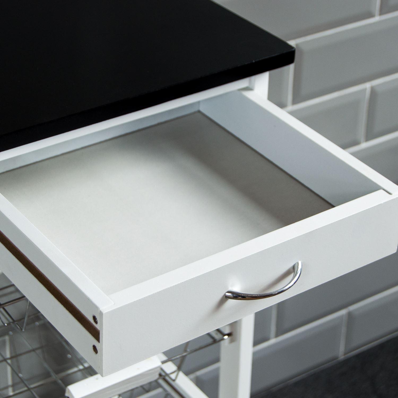 4 Tier Kitchen Trolley White Wooden Cart Basket Storage