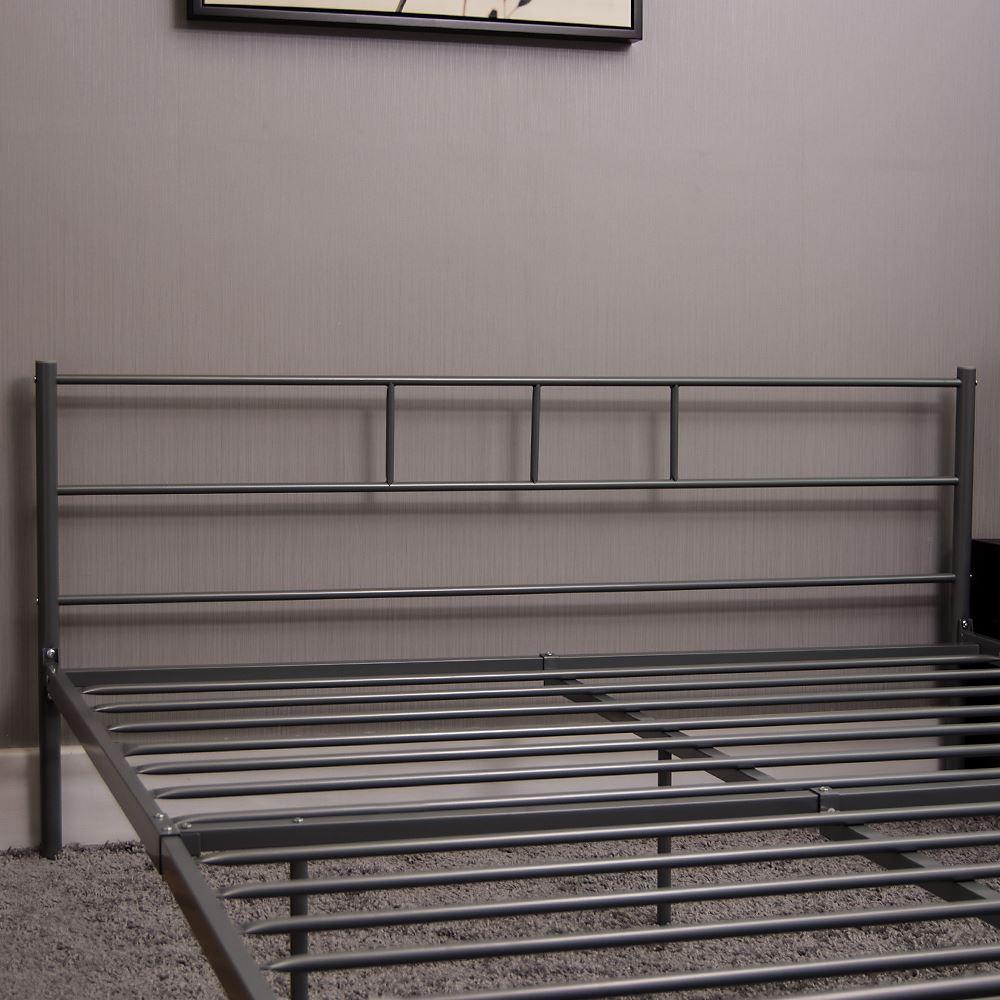 Dorset-lit-double-4Ft6-Noir-Argent-Metal-blanc-Cadre-en-Acier-moderne-chambre