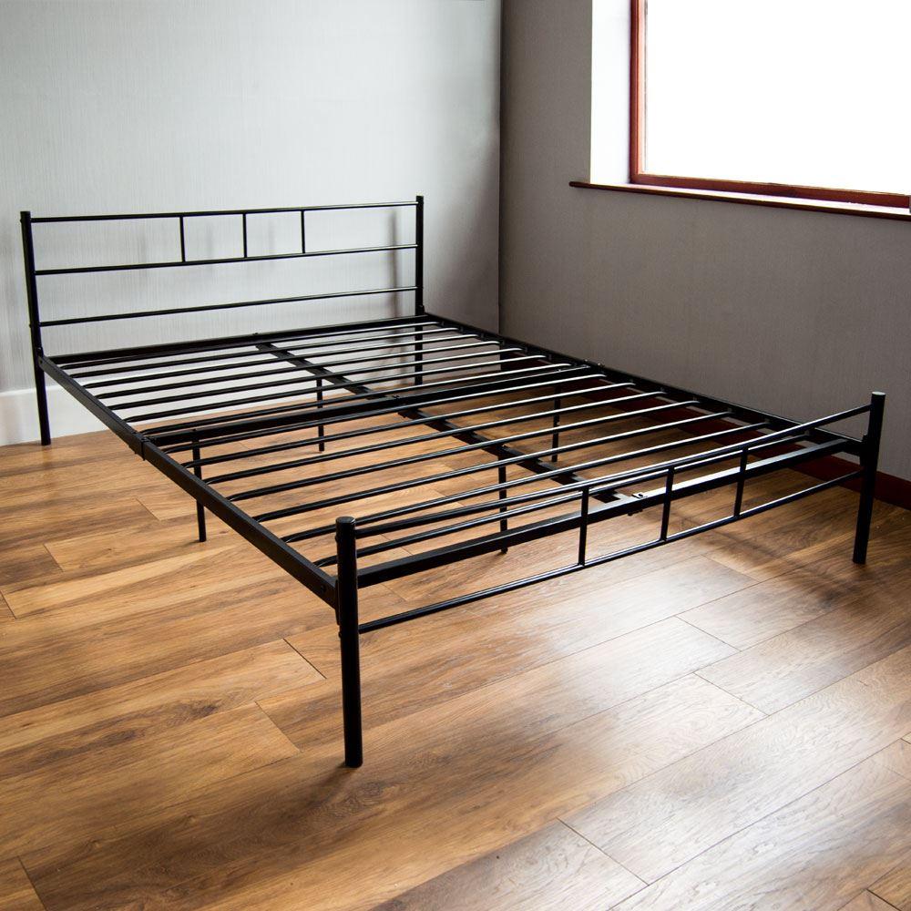 Dorset King Size Bed 5ft Metal Frame Bedroom Black Silver White ...