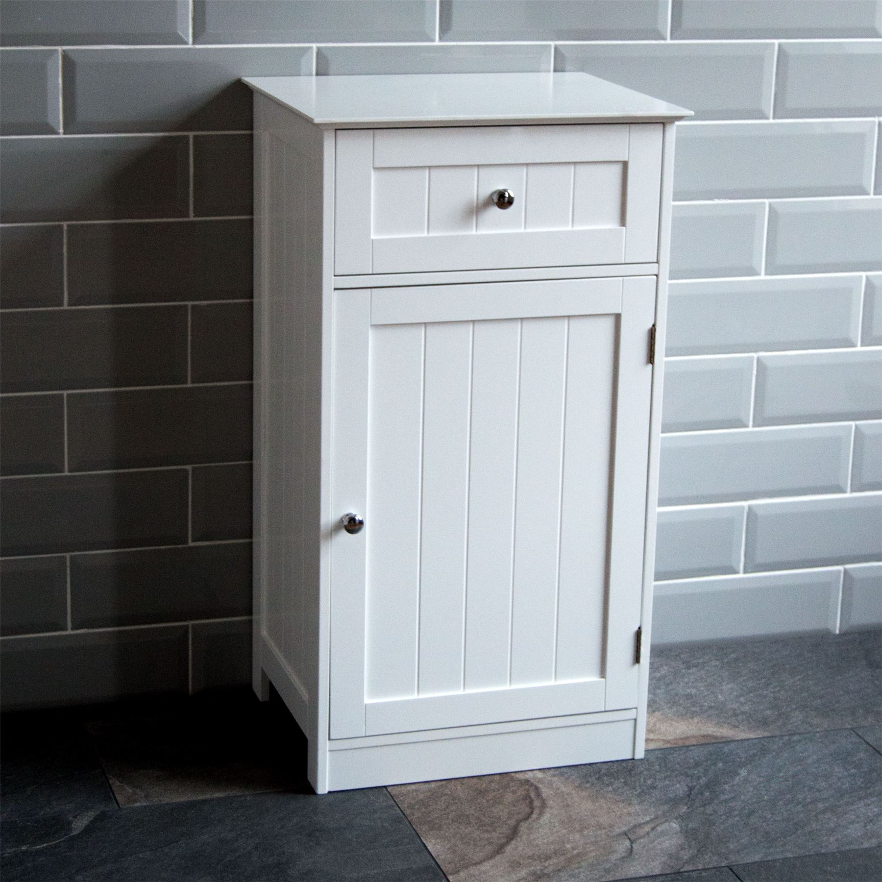 Bathroom cabinet 1 door 1 drawer freestanding storage unit for White wooden bathroom drawers