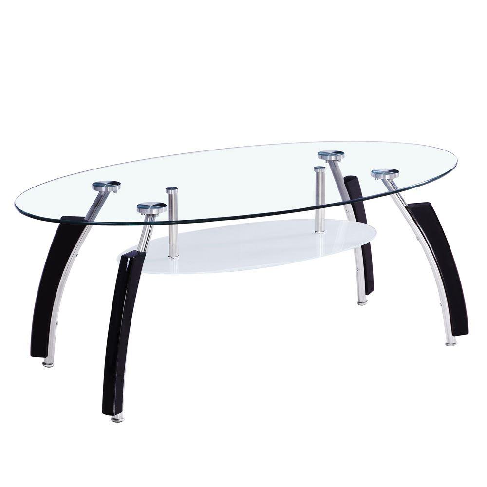 Elena Coffee Table Oval Top White Black Clear Glass Shelf Modern Furniture