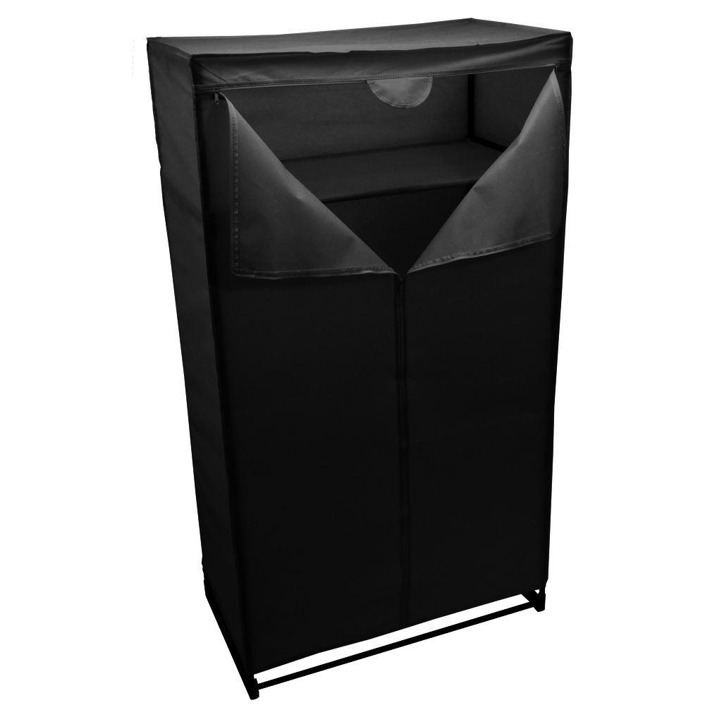 Canvas Storage Boxes For Wardrobes: Double Wardrobe Black Canvas Rail Bedroom Storage Hanging