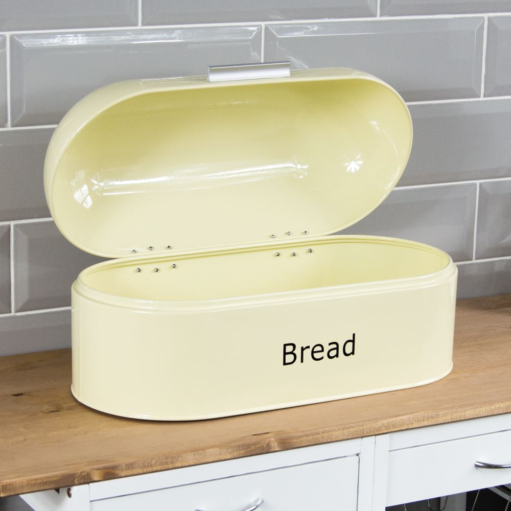 Bread-Bin-Retro-Curved-Mirrored-Steel-Kitchen-Loaf-Food-Storage-Container thumbnail 29