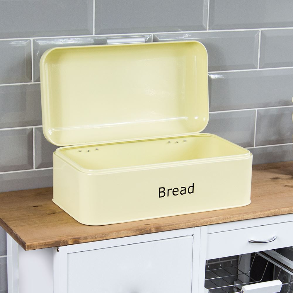 Bread-Bin-Retro-Curved-Mirrored-Steel-Kitchen-Loaf-Food-Storage-Container thumbnail 7