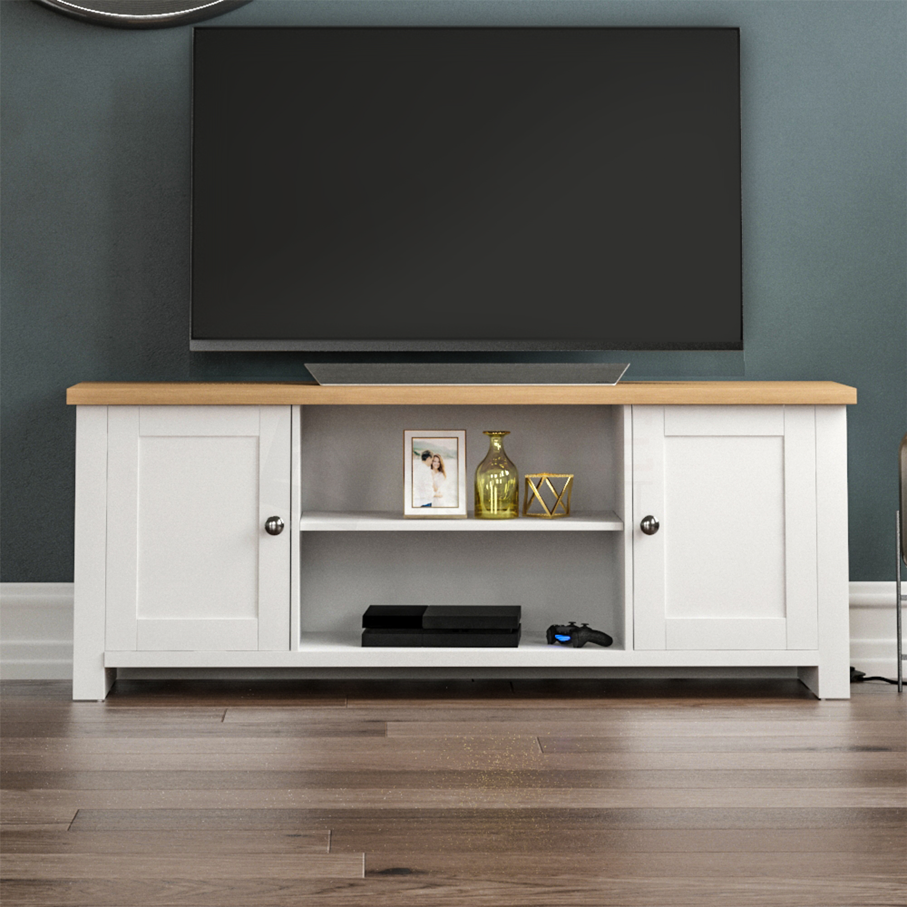 thumbnail 13 - Modern White TV Stand Cabinet LED Unit Matt body and High Gloss Doors  Lights