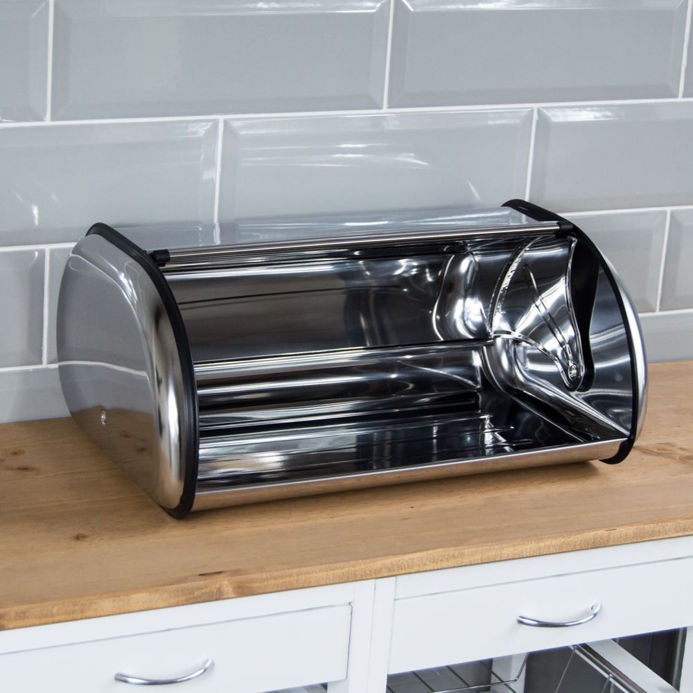 Bread-Bin-Retro-Curved-Mirrored-Steel-Kitchen-Loaf-Food-Storage-Container thumbnail 11