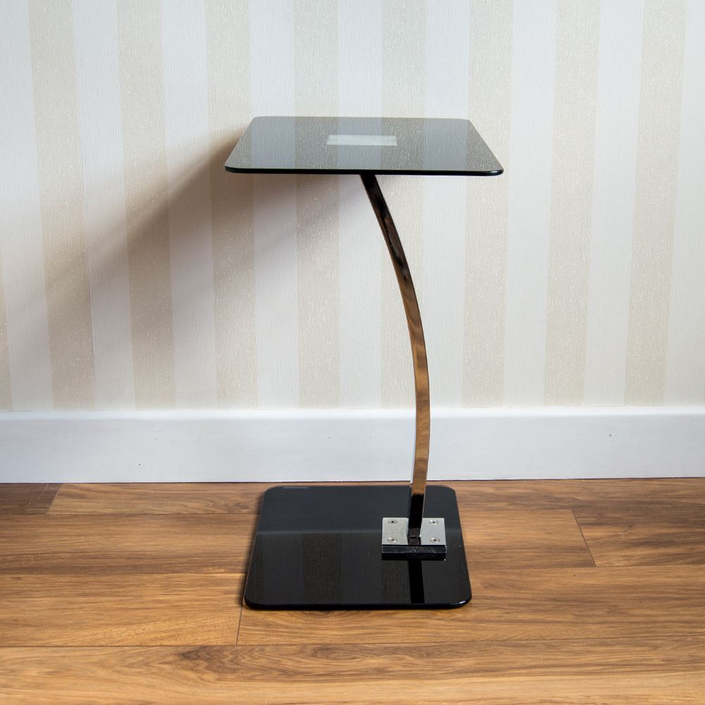 Laptop Stand Table Glass Black Computer Notebook Desk