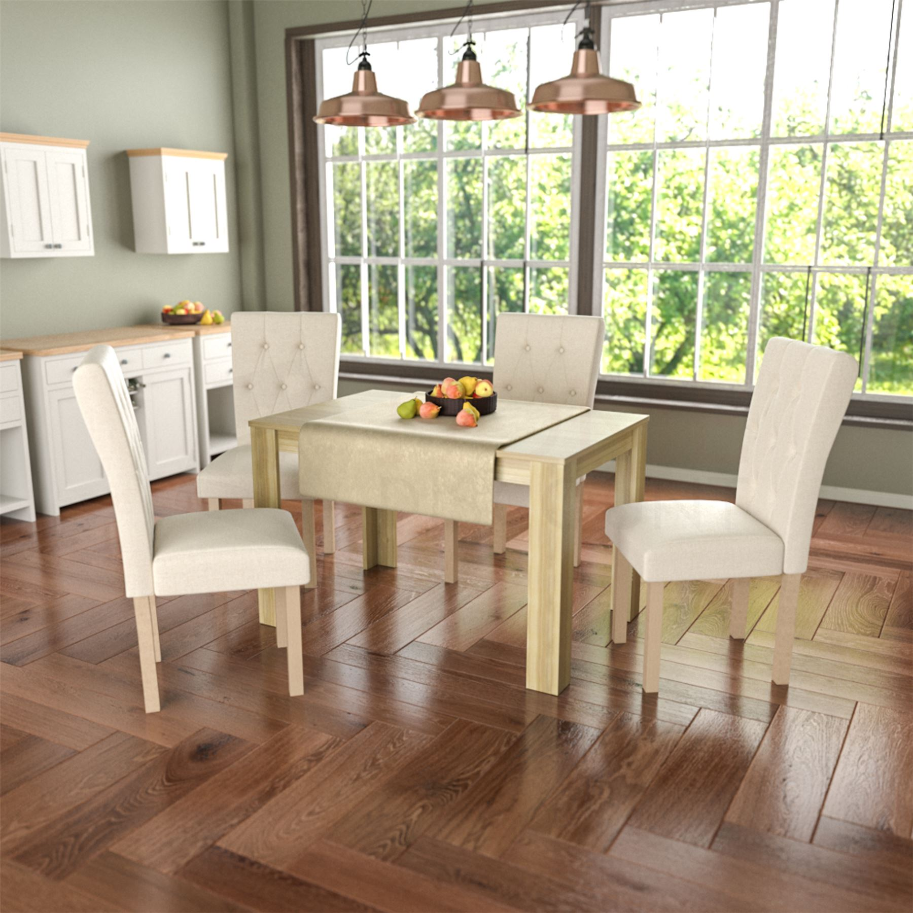 new product ba04b 6960d Details about Dining Table & 4 Chairs Set Wood Fabric Dining Room Kitchen  Oak Cream and Oak