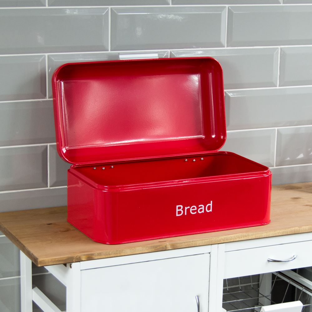 Bread-Bin-Retro-Curved-Mirrored-Steel-Kitchen-Loaf-Food-Storage-Container thumbnail 16