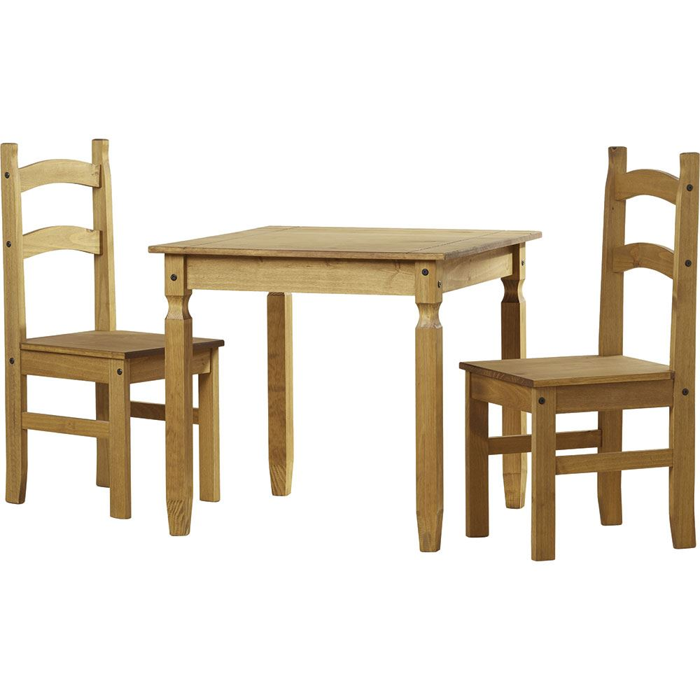 2 Seat Dining Set: Corona Dining Set 2 Seater Chairs Table Solid Pine Wood