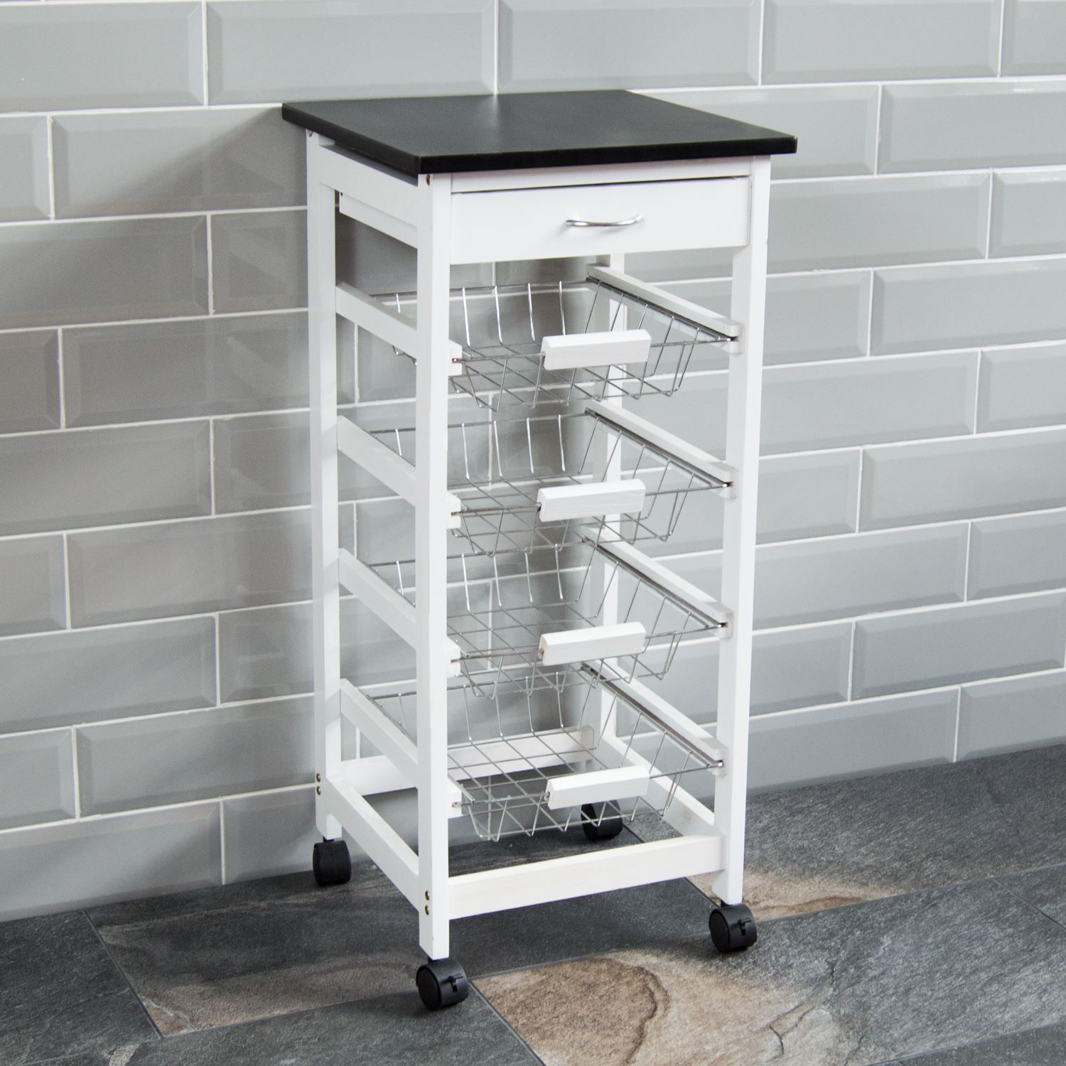 4 tier kitchen trolley white wooden cart basket storage drawer by home discount ebay - Kitchen cabinets trolleys pictures ...
