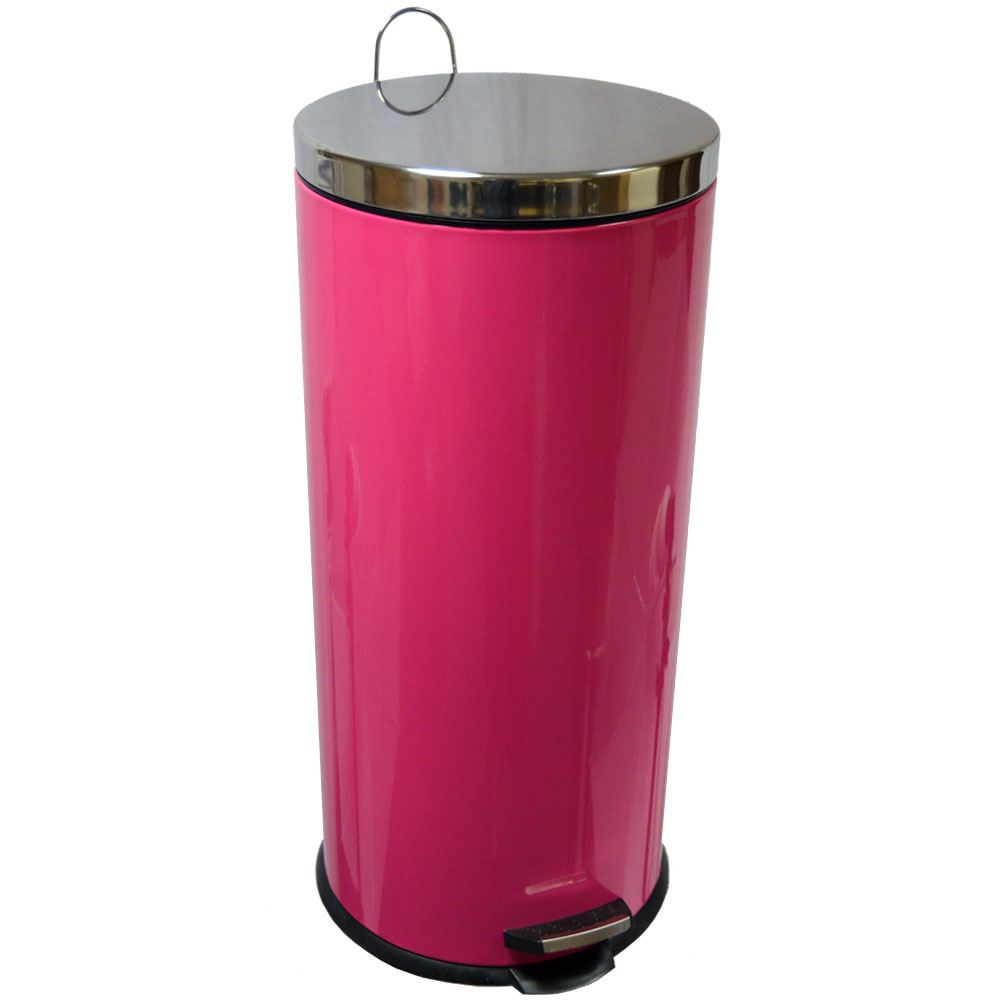 30 litre pedal bin stainless steel bathroom kitchen inner for Pink bathroom bin
