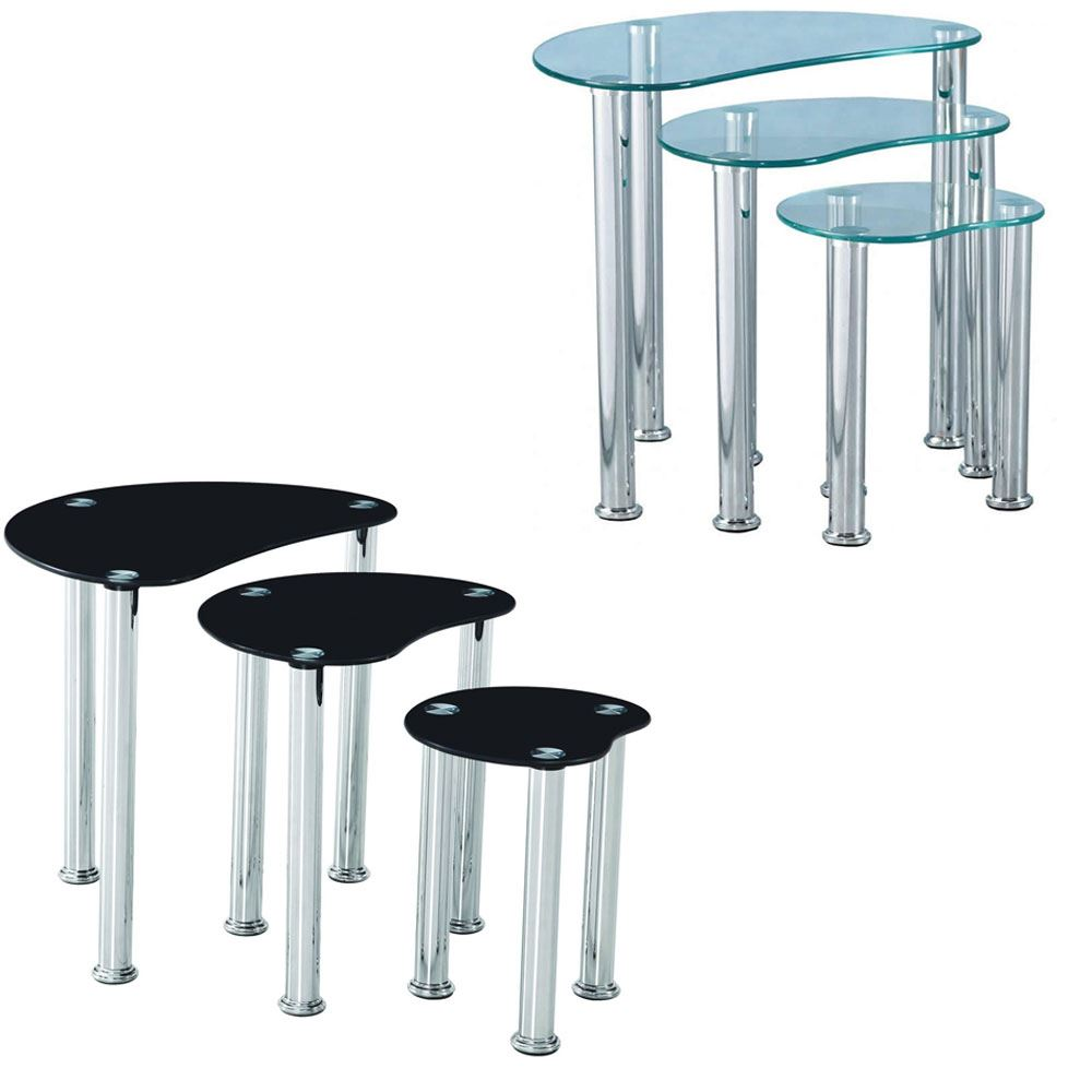 Details about cara nest of 3 tables clear black glass modern furniture new by home discount