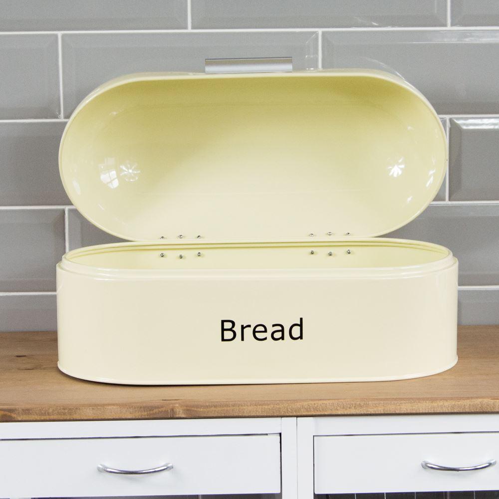 Rectangular Bread Bin Steel Roll Top Kitchen Storage Loaf: Retro Bread Bin Cream Steel Kitchen Top Storage Loaf Box
