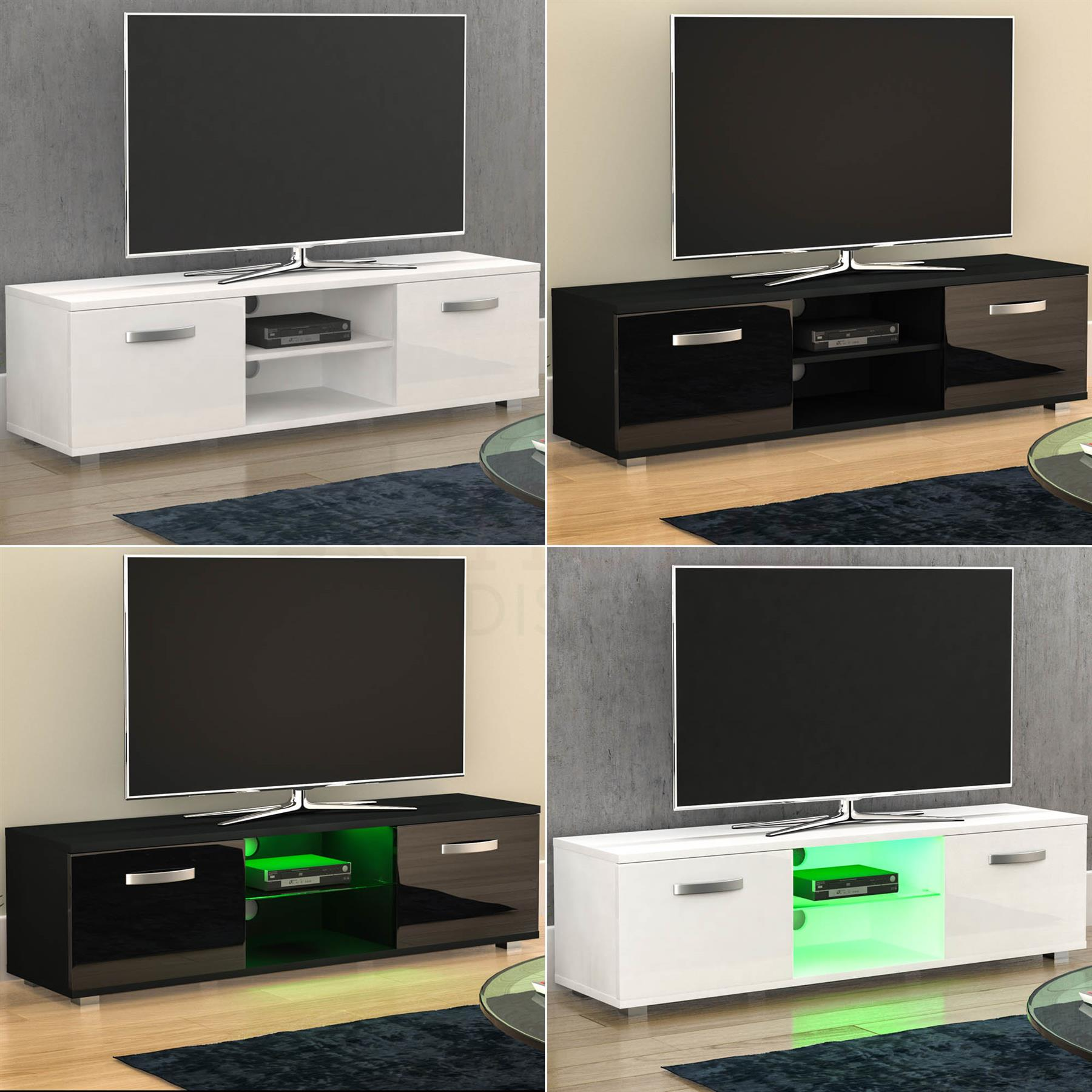Details About Cosmo LED TV Stand Cabinet Unit 2 Door Modern Matte Gloss  Entertainment 140cm