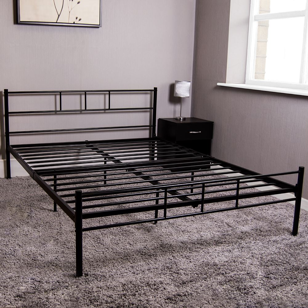 Cama de Individual Doble King Dorset Metal Marco de Cama Acero Negro Moderno unidad de dormitorios Marco 337929