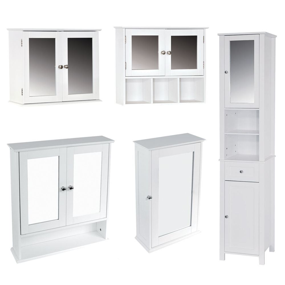 Milano bathroom cabinet single double mirrored doors wall - Wall mounted bathroom storage units ...