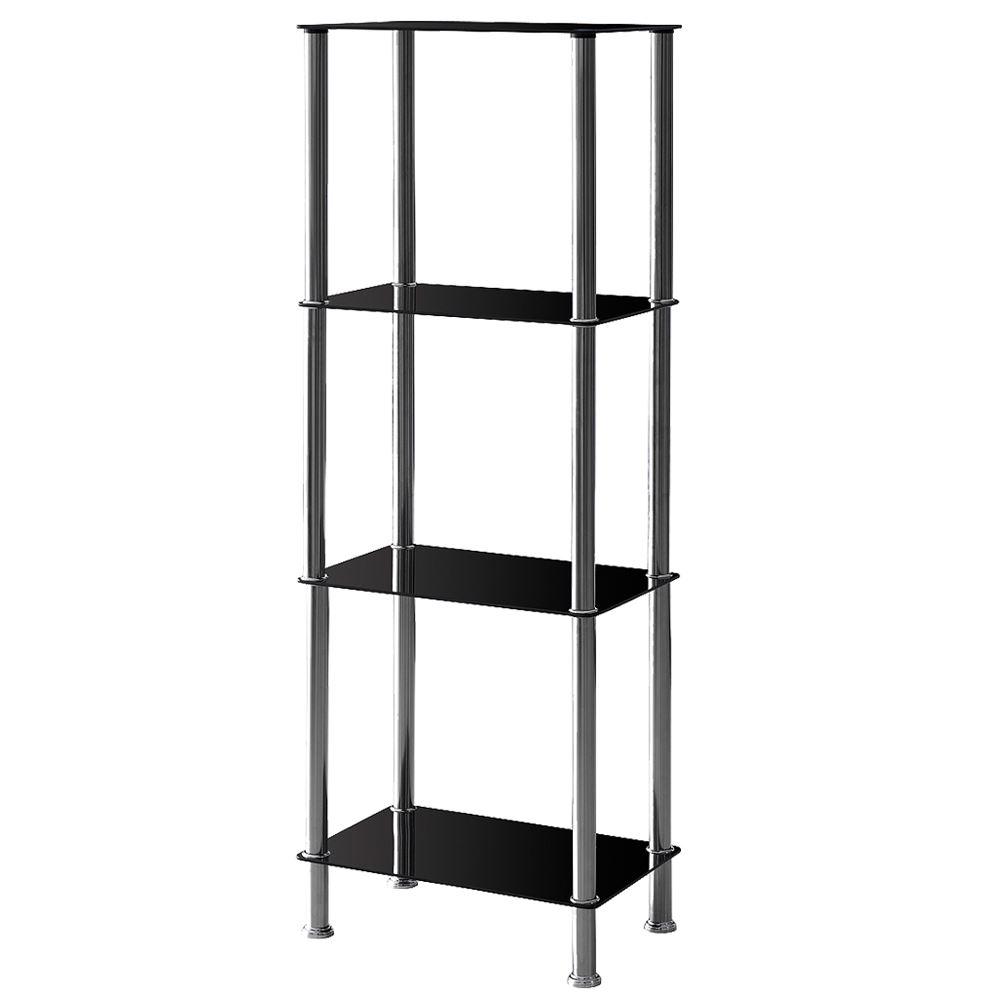 2 3 4 Tier Glass Shelf Unit Black Shelves Storage Square