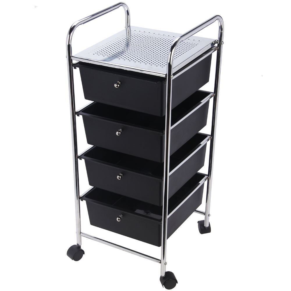 3 4 Drawer Trolley Cart Storage Portable Rack Cabinet
