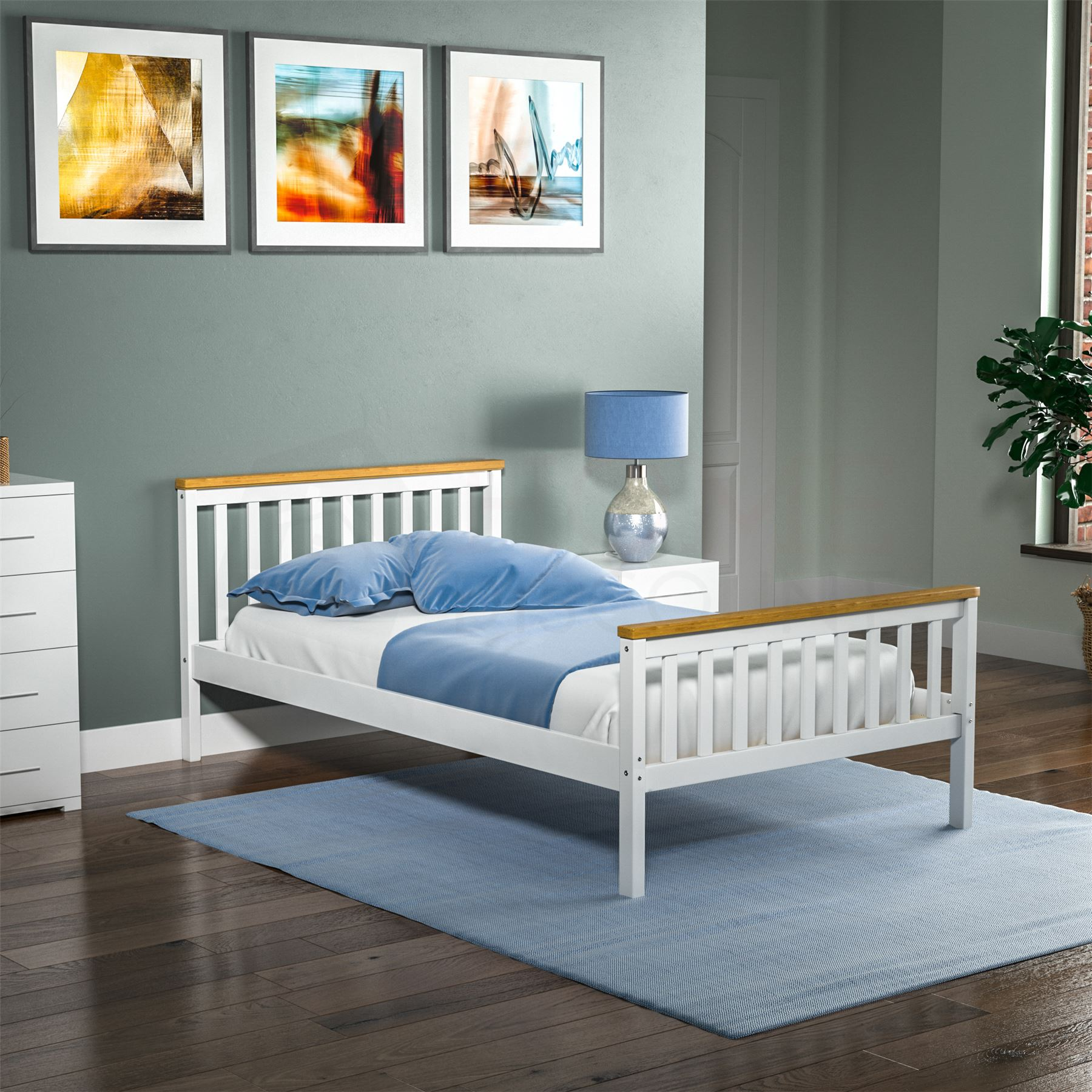 Wood bed single 3ft mattress frame slat milan bedroom - White and pine bedroom furniture ...
