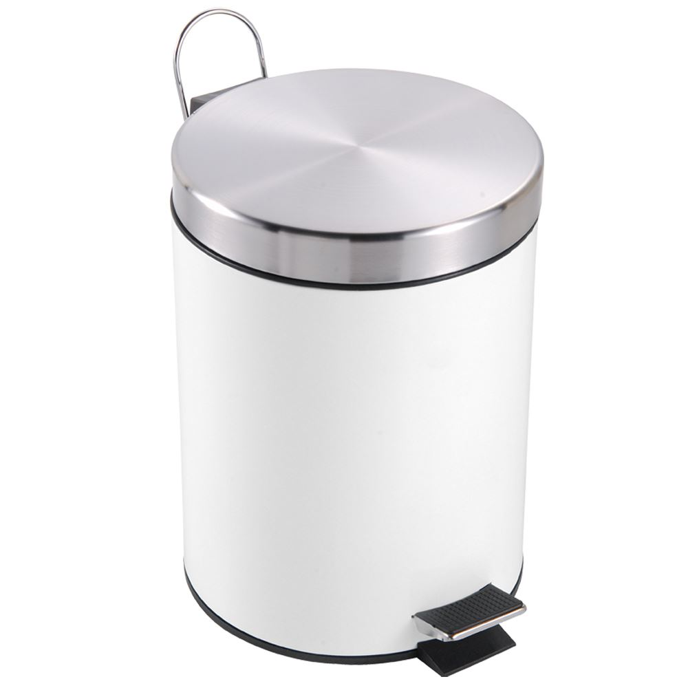 White Bathroom Bin 3 litre pedal bin white waste disposal recycle kitchen bathroom