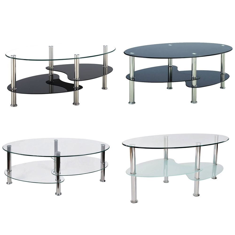 Cara Coffee Table Black Clear Frosted Oval Shelves Glass Modern By