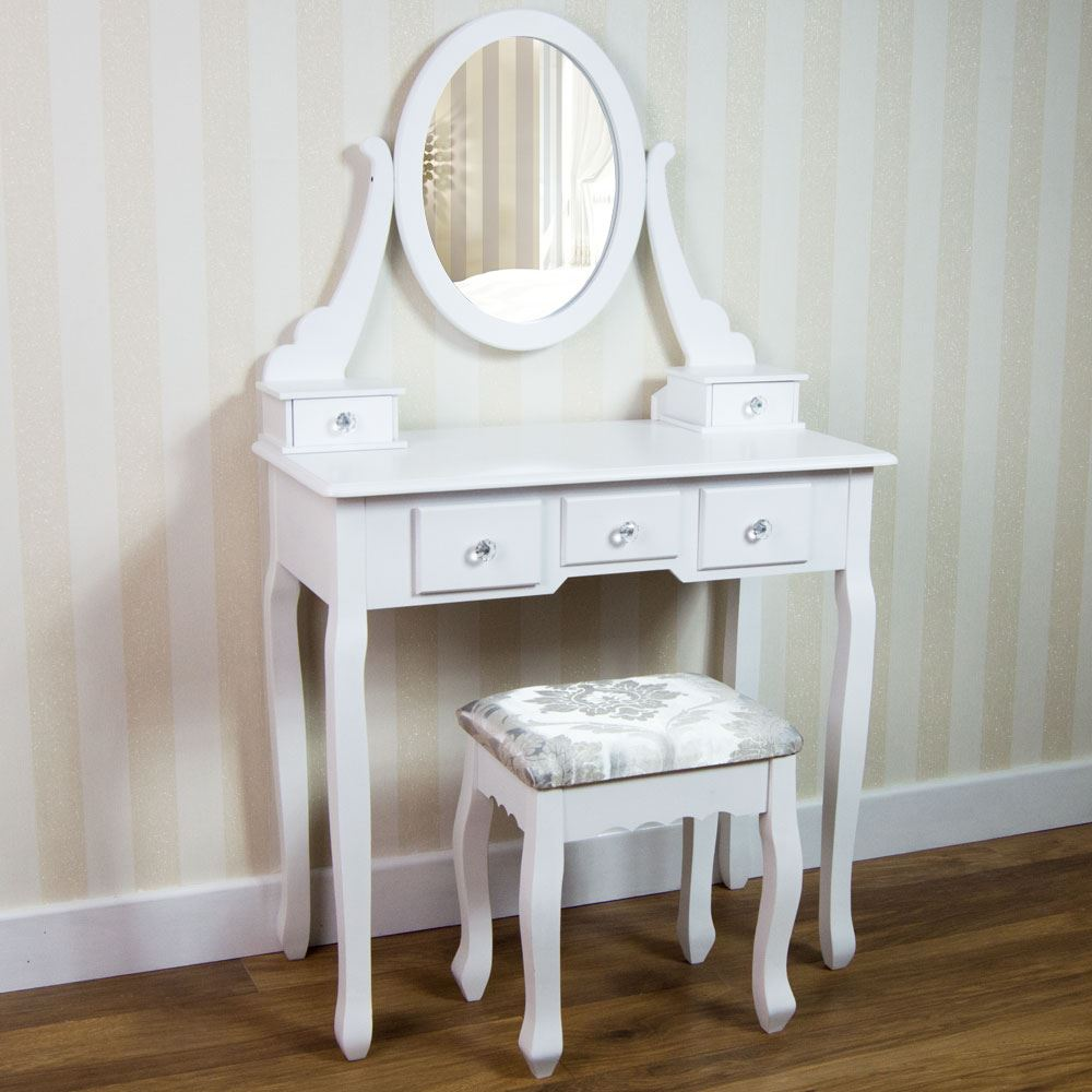 Nishano dressing table drawer stool mirror bedroom makeup desk white black ebay - Stool for vanity table ...