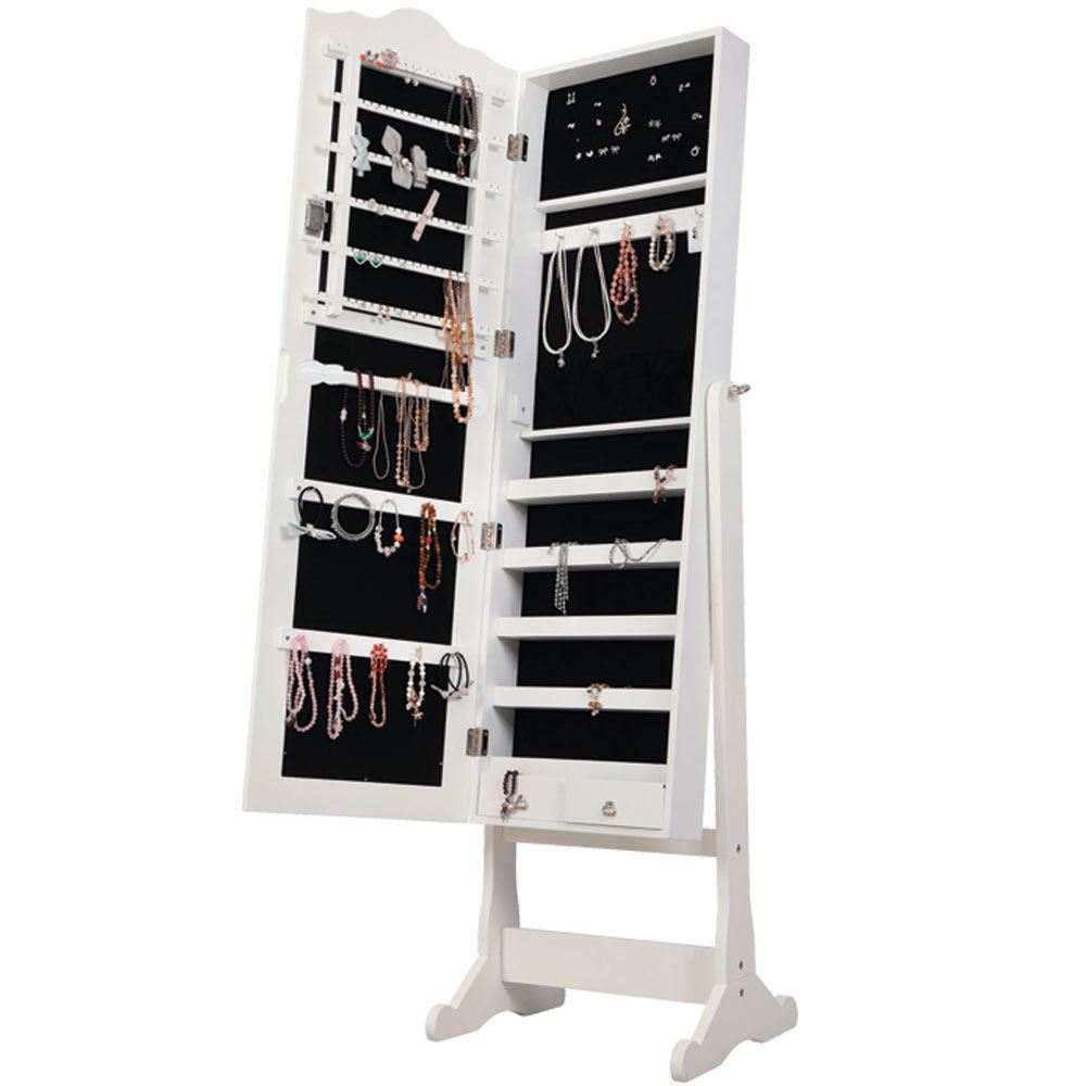 Nishano Jewellery Cabinet Extra Large White Floor Standing Mirror Vanity Cabinet Ebay