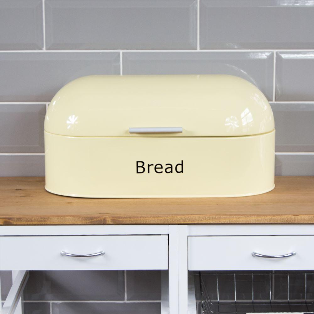 Rectangular Bread Bin Steel Roll Top Kitchen Storage Loaf: Bread Bin Retro Curved Cream Steel Kitchen Top Storage