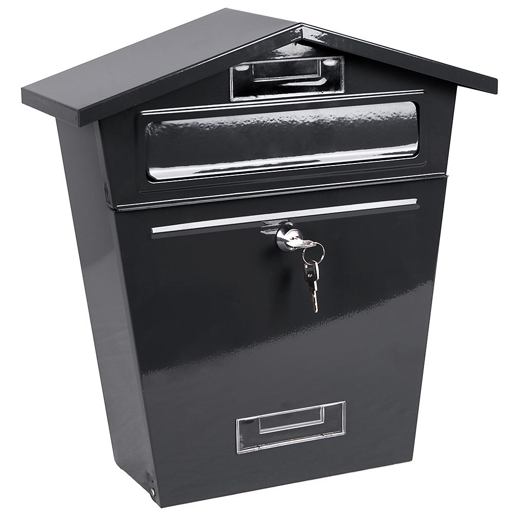 steel post box postbox lockable letter mail wall mounted. Black Bedroom Furniture Sets. Home Design Ideas