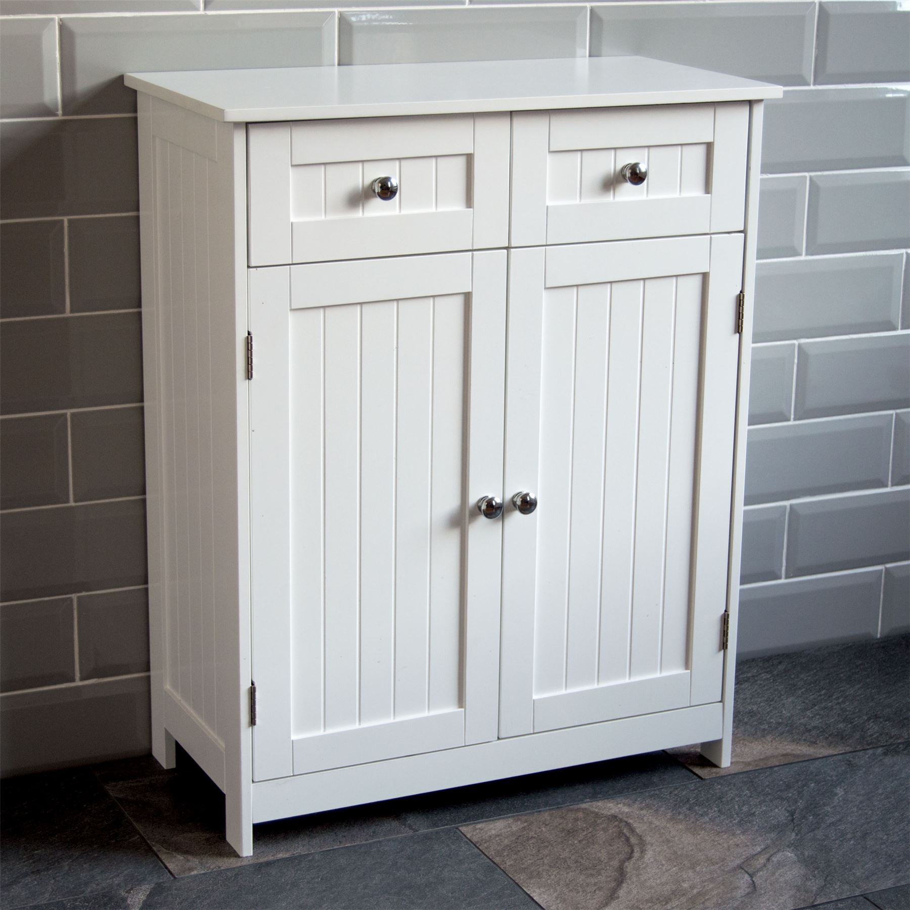 Priano bathroom cabinet 2 drawer 2 door storage cupboard - Bedroom storage cabinets with drawers ...