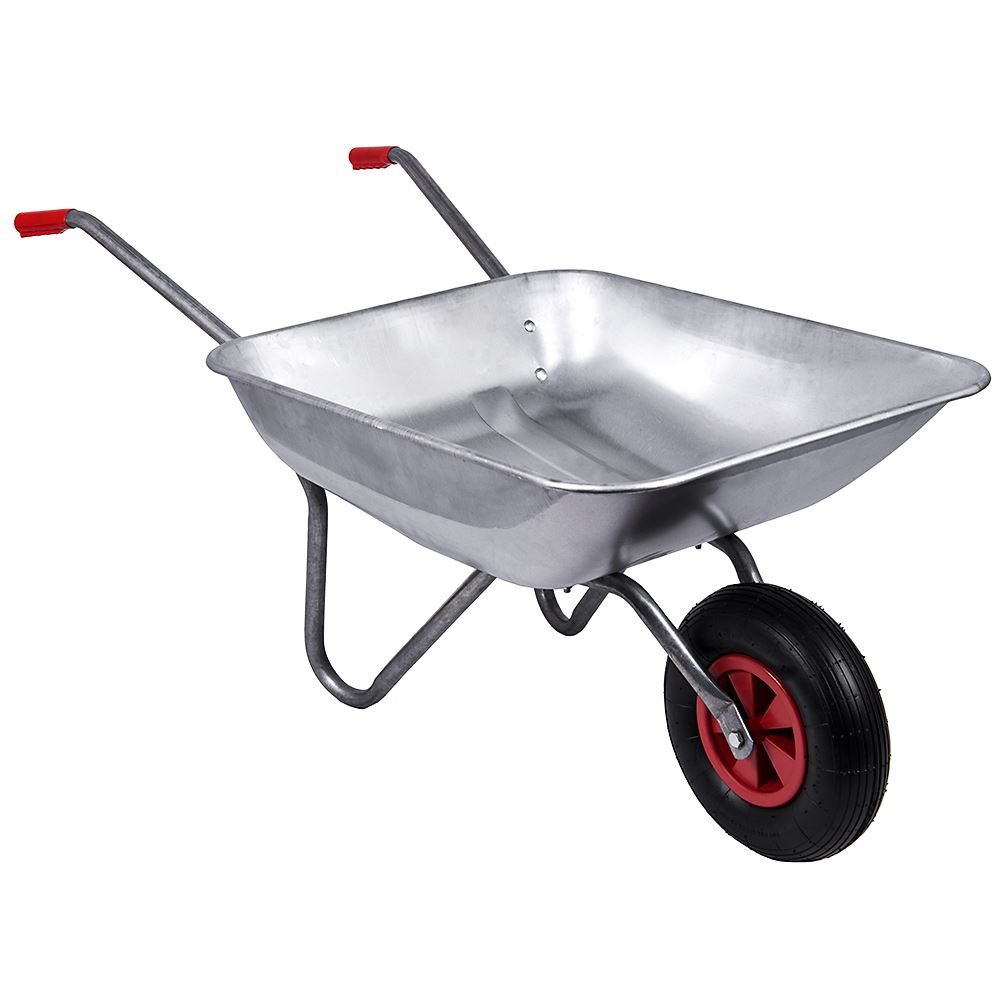 Wheelbarrow garden galvanised wheel barrow pneumatic tyre for Heavy duty garden tools