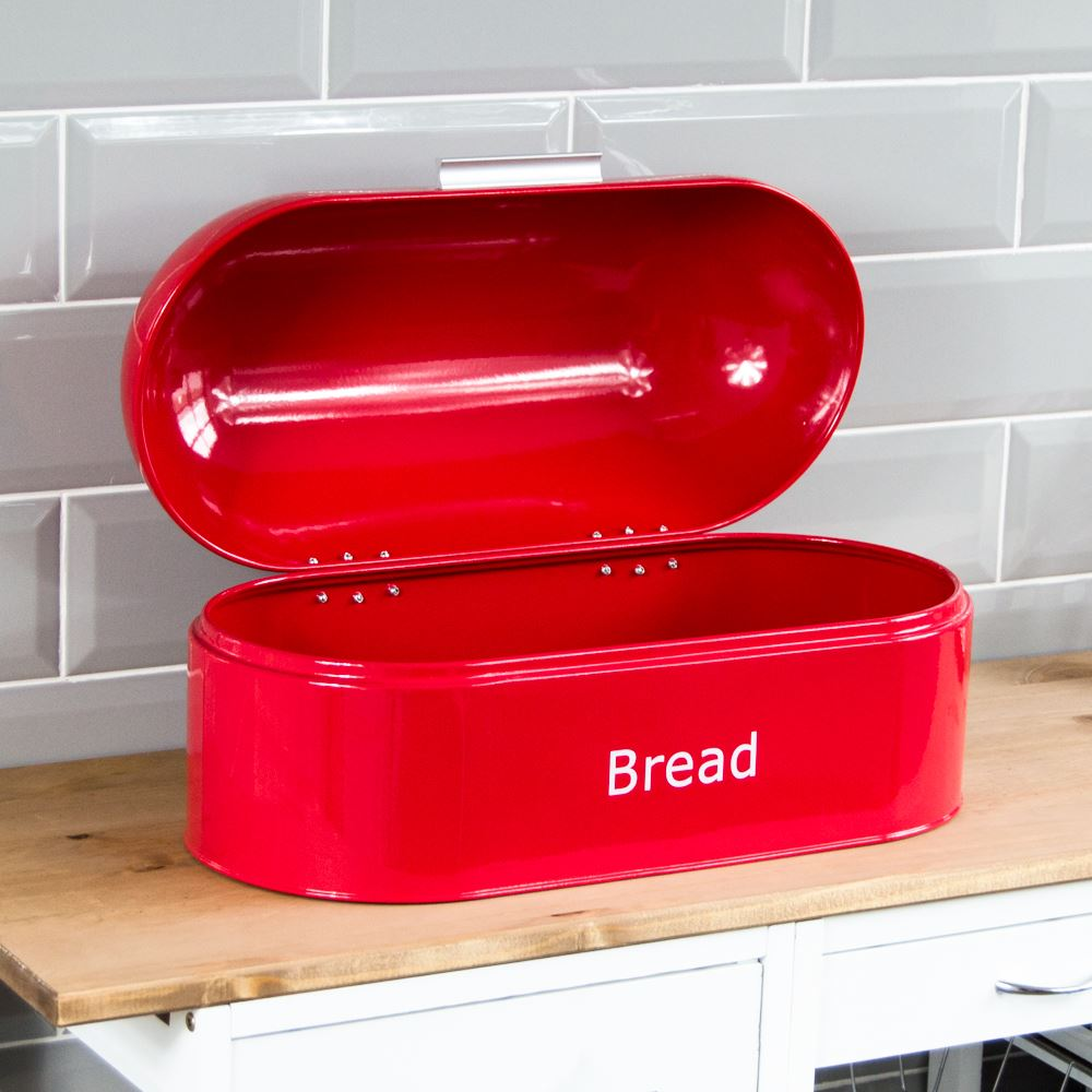 Bread-Bin-Retro-Curved-Mirrored-Steel-Kitchen-Loaf-Food-Storage-Container thumbnail 33