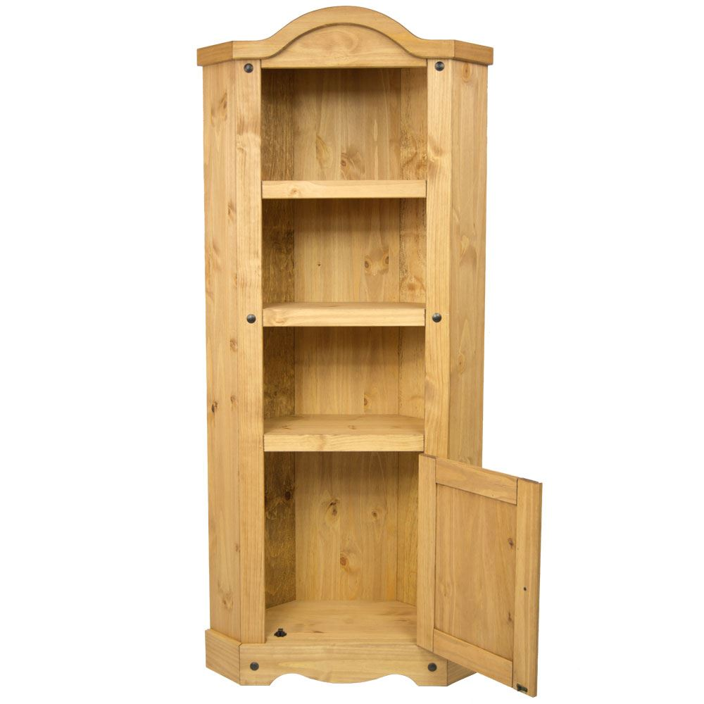 Corona 1 Door Corner Bookcase Display Unit Mexican Solid Pine Wood Waxed Rustic Ebay