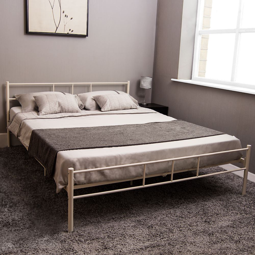 Sleigh Bedroom Sets King Bedroom Jpg Simple Bedroom Colour Design Bedroom Accessories Uk: Dorset Double Bed Metal Steel Frame 4FT6 135cm Bedroom