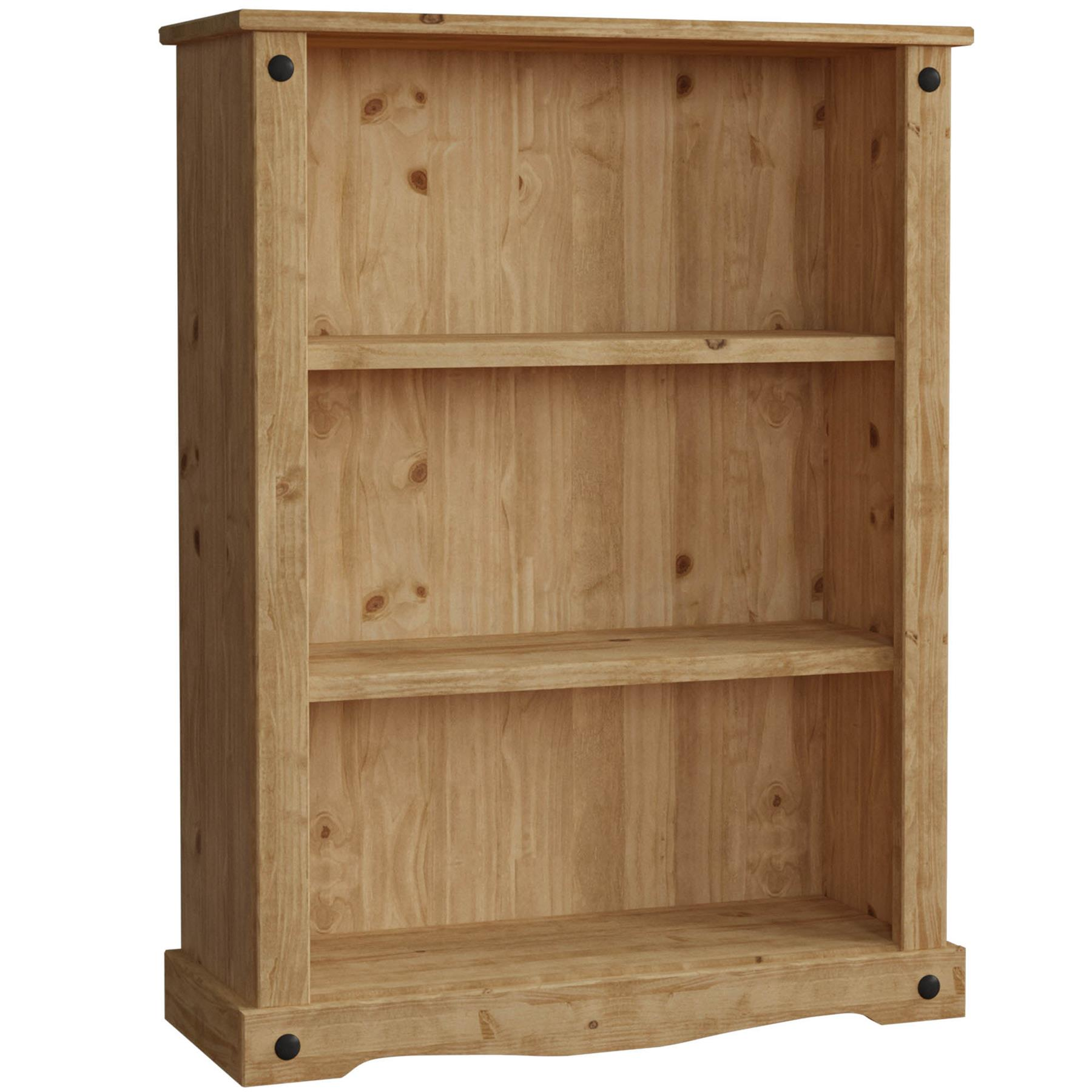 Details About Corona Low Bookcase 2 Shelf Storage Solid Pine Wood Display Cabinet Furniture