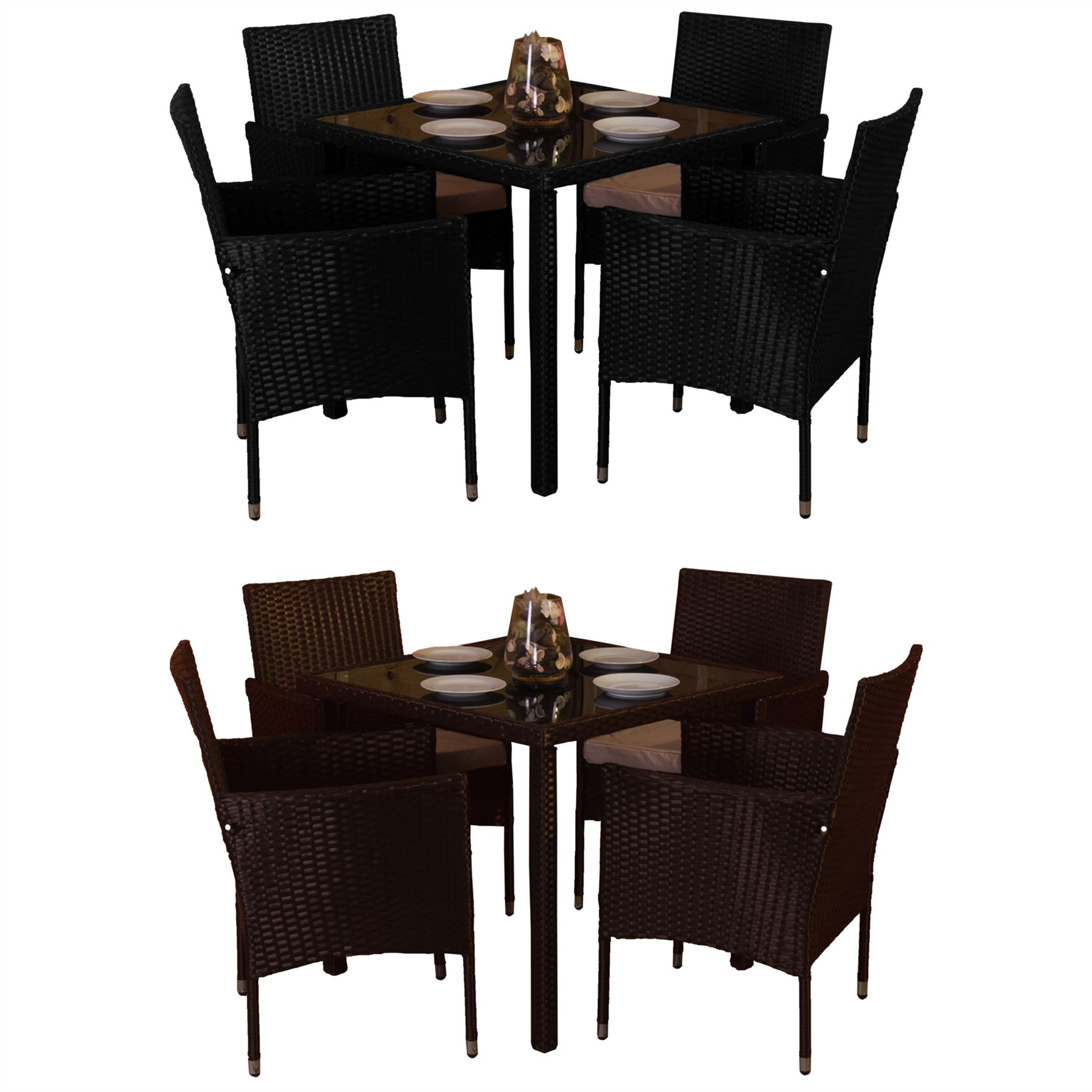 Details about malpas garden rattan furniture 4 seater dining set outdoor table patio ukfr