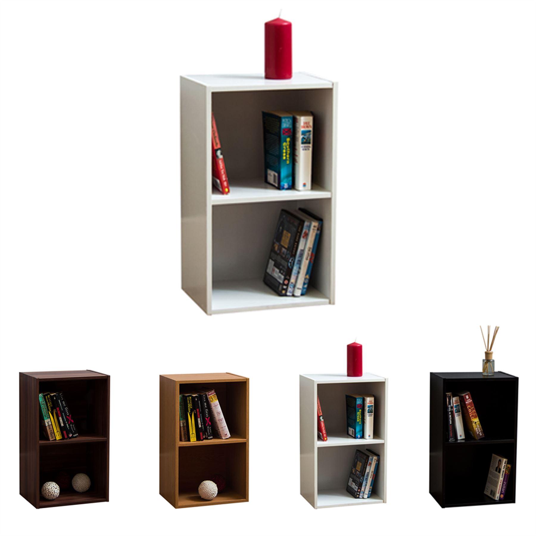 Cambridge 3 Tier Low Bookcase Display Shelving Storage Unit Wood Stand Walnut