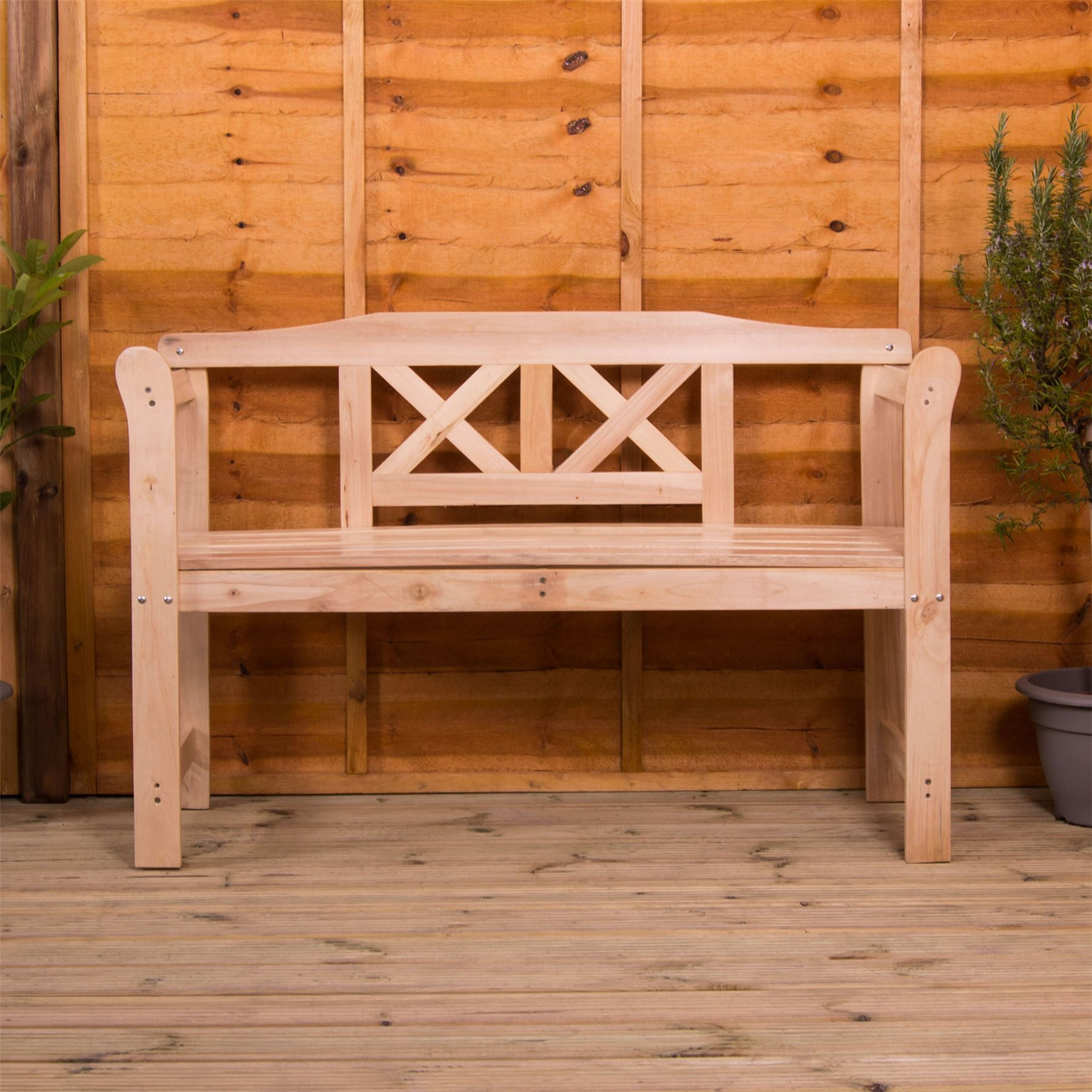 Incredible Details About Garden Bench 3 Seater Natural Wood Outdoor Patio Porch Chair Seat Furntiure Spiritservingveterans Wood Chair Design Ideas Spiritservingveteransorg