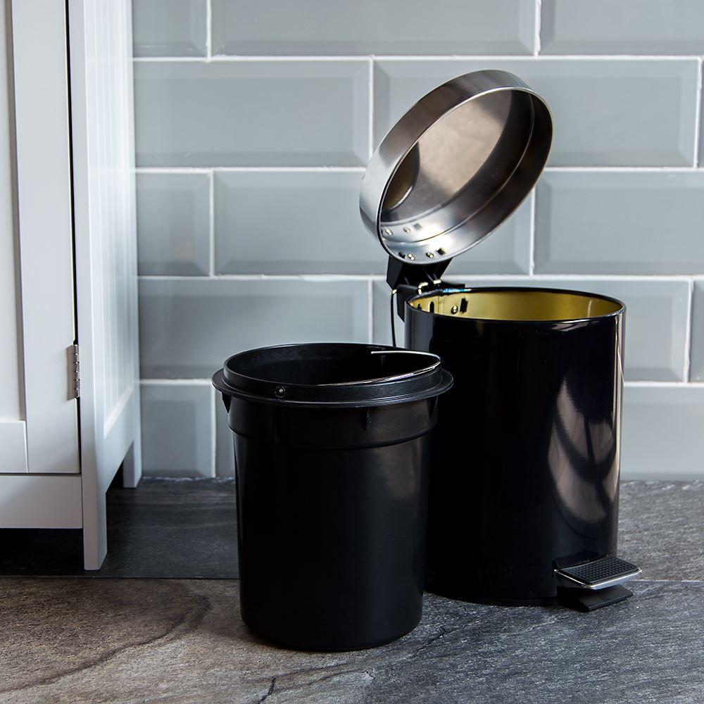 3 Litre Pedal Bin Black Bathroom Kitchen Rubbish Disposal Stainless ...