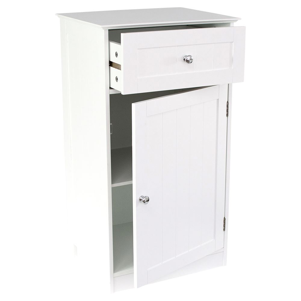 Home Discount Bathroom Cupboard 1 Door 1 Drawer Floor Standing ...