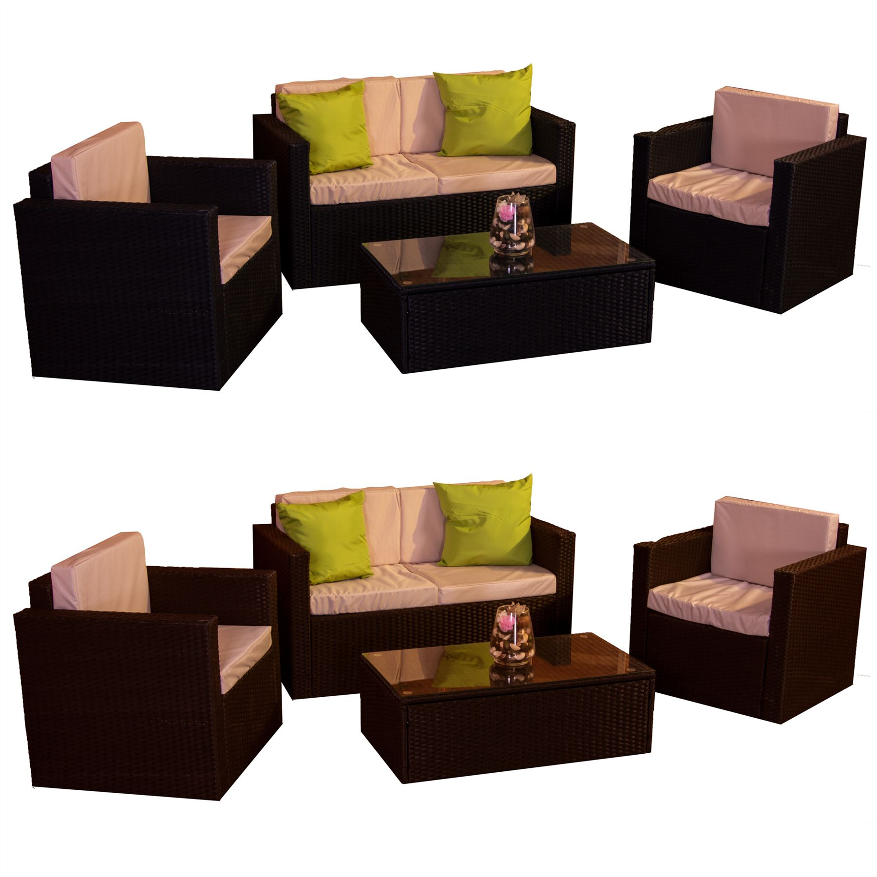 Details about alton garden rattan furniture 4 seater set black brown outdoor table patio ukfr