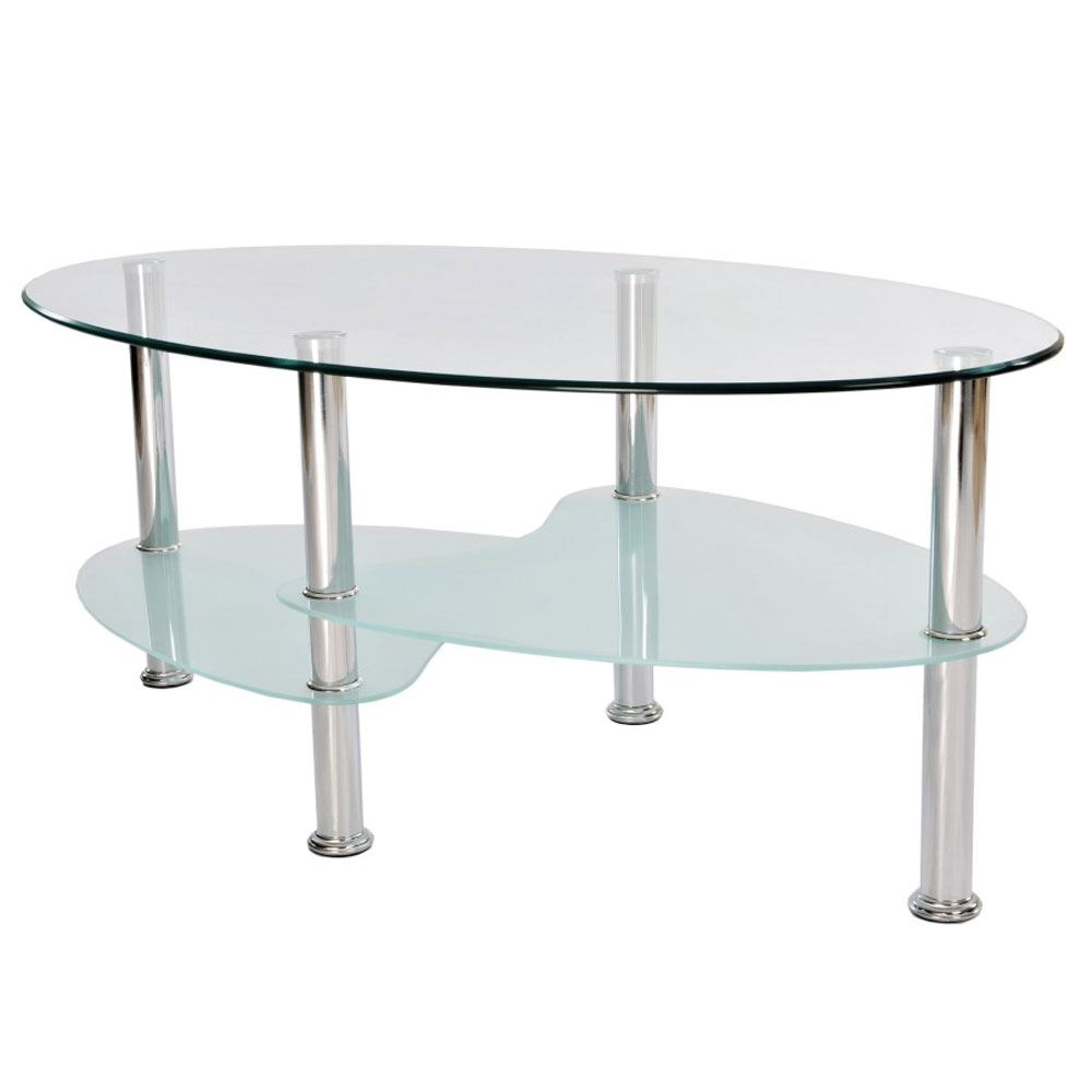 Cara coffee table frosted oval glass top stainless steel living picture 2 of 2 geotapseo Choice Image