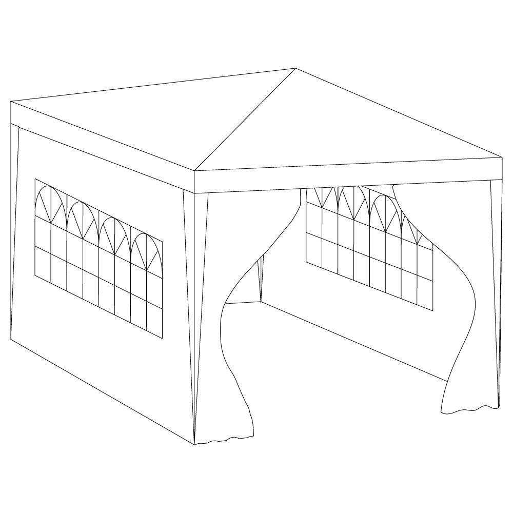 3x4m côtés Marquee Gazebo Tente Fête De Jardin Imperméable Auvent Abri WindBar