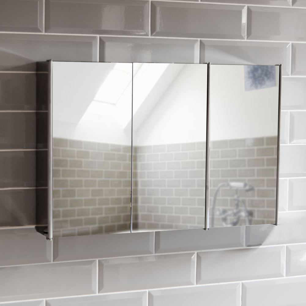 Bathroom cabinet double triple door wall mounted mirror storage stainless steel ebay for Bathroom mirror cupboard