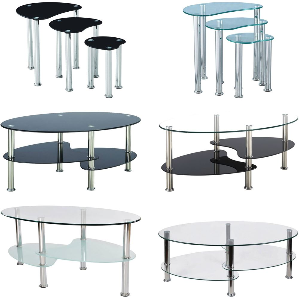 Cara furniture range coffee table nest of 3 tables glass for Coffee tables the range